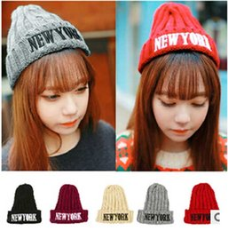 Wholesale Beaches New York - Buy Fashion New York Wool Hat Knitting Hat Fashion Winter Warm Beanies For Men and Women Knitted Hat Free Shipping #S0749