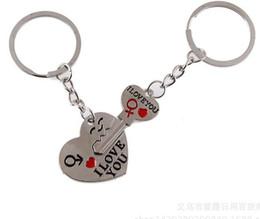 "Wholesale Charming Heart Key Chain - Hot ""I Love You"" Heart+Arrow + Key Couple Key Chain Car Key Ring Keyring Charm Pendant Keychains For Lover"