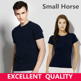 Wholesale Tee Shirts Horses - Hot Sale Classic Men Small Horse Embroidery T shirt Short Sleeve Men T-shirt 100% Cotton Tees Tops Mens Brand tshirt Plus size S-5XL