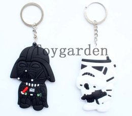 Wholesale Key Finder Free Shipping - New Sale Arrive Product 20 pcs lot Star Wars mixed design Rubber Keychain Anime Metal Key Chains Pendant Kids Christmas Gift free shipping