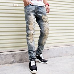 Wholesale Jeans Trou - 2016 New Famous Brand Vintage Men designer Casual Hole Ripped Jeans Mens Fashion Skinny Denim Pants Silm Fit Male Trou Z10