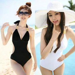 Wholesale Deep V Halter Monokini - Newest Sexy Women's Fringe Monokini Swimwear Fringe Deep V neck Chest Opening Halter Top One-piece Swimsuit Bathing Suit Beachwear 50se