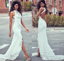 Wholesale Strapless Low V Neck Dress - 2018 Robe De Mariee Backless Lace Wedding Dresses Vintage Mermaid V Neck High Neck Sweep Train Split High Low Bridal Gowns