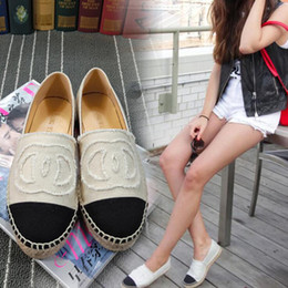 Wholesale Espadrille Canvas Shoes - Famous Brand Women Espadrilles Top Quality Luxury Brand Real Lambskin Women Flat Shoes Comfortable casual loafers