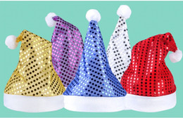 Wholesale Dress Up Props - Christmas Sequin Sheen Santa Hat men women Festive costumes cap Dress up props Party Accessory Supplies 5colors wen4806