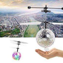 Wholesale Led Kids Favor Wholesale - RC Flying Ball Drone Helicopter Ball Built-in Shinning LED Lighting For Kids Toy Xmas Gift 120 pcs YYA778