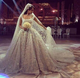 Wholesale Sweetheart Princess Beach Wedding - Luxury Beaded Pearls Wedding Dresses 2016 Backless Beach Bridal Gowns A-Line Appliques Pleated Vintage Wedding Gown Arabic Dubai