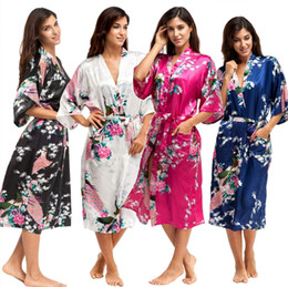 Wholesale long silk satin nightgowns - Women's Silk Robe Ladies Satin Floral Pajama Lingerie Sleepwear Kimono Bath Gown pjs Long Nightgown Wedding Bridesmaid Robe