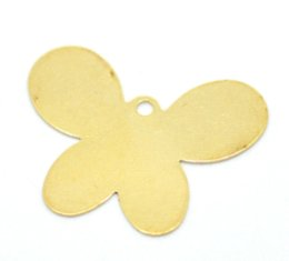 Wholesale Brass Coin Charms - 50Pcs Free Shipping Brass Tone Butterfly Blank Stamping Tags Pendants For Necklaces Jewelry Diy Findings Charms 26X20mm