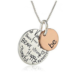 """Wholesale Two Tone Pendants For Women - 2016 Fashion Two-Tone """"Be"""" Graffiti Charm Necklace Two Pcs Silver Rose Gold Plated Circle Pendant Necklaces Jewelry Women For Christmas Gift"""