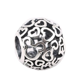 Wholesale Pandora Mouse - Pandora Charms 925 Silver Jewelry Findings Love Heart Miky Mouse European Beads Fit Pandora Bracelets Silver Charms Jewelry Making PS0012-1