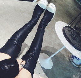 Wholesale Half Tights - Wholesale- 2016 Hot Selling Tight Leather Women Over The Knee Boots Thick White Bottom Ladies Long Flat Boots Knight Boots Wholesale