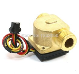 Wholesale 12vdc Switch - Wholesale-Free Shipping 1-30L Min 12VDC Brass Water Flow Rate Sensor Counter Switch Flowmeter