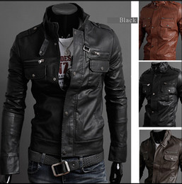 Wholesale 2xl Brown Mens Leather Jacket - Mens Stand Collar Leather Jackets Autumn New Men's Leather Jacket Locomotive Style Men's Slim Fit Leather Clothing Black Brown