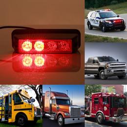 Wholesale Led Emergency Vehicle Strobe - New High Power 4LEDS Car Grille Flashing Light Led Strobe Warning Hazard Emergency Warning Flash Light for Police SUV Truck Vehicle
