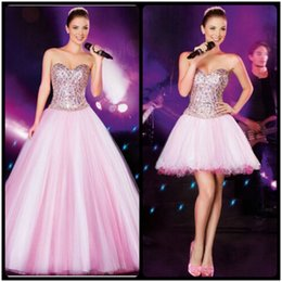 Wholesale Two Piece White Skirt - Chic Detachable Skirt Pink Prom Dresses Ball Gown Elegant Sleeveless Sweetheart Bling Party Dresses 2016 New Design Quinceanera Dresses