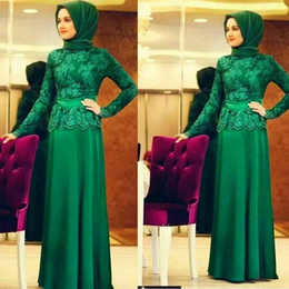 Wholesale Islamic Long Evening Dress - Fashion Arabic Formal Evening Dresses Long Sleeves Lace Crew Neck Islamic Prom Dresses Green Chiffon Special Party Dress
