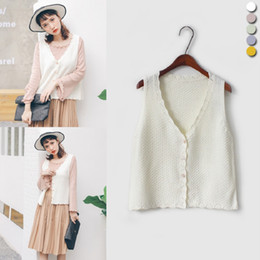Wholesale Japanese Buttons Wholesale - Wholesale- 2017 Women'S Harajuku School College Retro Casual Knitted Vest Female Cute Japanese Kawaii Sweater Cardigan For Women