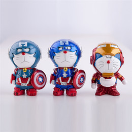 Wholesale Doraemon Birthday - 2pcs set anime Dora Doraemon Captain America cosplay Iron Man PVC figure Toy Model doll for kids birthday gifts