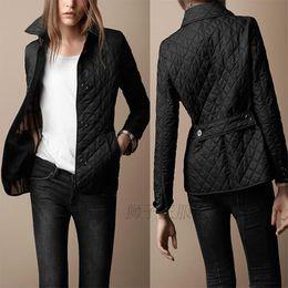 Дизайн колодки онлайн-Оптовая продажа-Новый 2016 зимнее пальто куртка женщин бренд дизайн британский стиль Argyle ватные куртки плюс размер хлопок мягкий верхняя одежда
