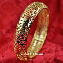 Pulseira feminina de ouro amarelo 18k on-line-O diamante do estilo do vintage do ouro de 18k GF cortou o bracelete G97 da pulseira das mulheres contínuas