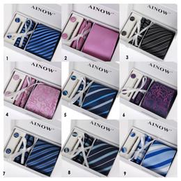 Wholesale Geometric Cufflinks - HOT SALE Neck Tie Set Men's tie Men's tie Stock Gift Set 6 Set group business suits tie wedding necktie
