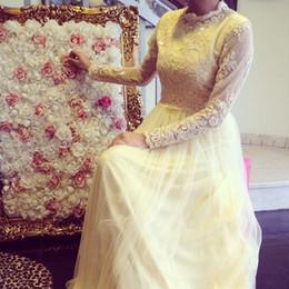 Wholesale Islamic Arabic Wedding Dress - Classic A-Line Organza Tulle Wedding Dresses High Neck Zipper Long Sleeves Arabic Islamic Wedding Bridal Gown Sweep Train Sequined Gowns