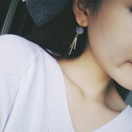Wholesale Pearl Tassel Earrings - 2018 fashion earrings Korea pearl velvet block ball geometric triangle earrings long tassel earrings Girl with gift