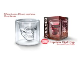 Wholesale Crystal Skull Head Whiskey Glass - Hot Special Transparent Crystal Skull Head Shot Glass Cup For Whiskey Wine Vodka Home Drinking Ware with retail package
