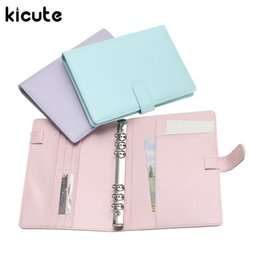 Wholesale Notebook Shell - Wholesale- Kicute Candy Color A5 Leather Loose Leaf Refill Notebook Spiral Binder Planner Replacement Cover 6 Hole Loose Leaf Notepad Shell