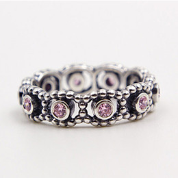 Wholesale Sterling Silver Rings Pink - Hot 100% 925 Sterling Silver Her Majesty Ring with Pink CZ European Pandora Style Jewelry Charm