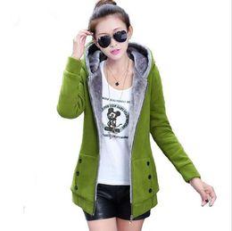 Wholesale womens plus sized winter coats - Wholesale-Plus size chaquetas mujer 2015 fashion hoodies womens velvet jackets womens winter jackets and coats long jacket blouson femme