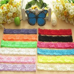 Wholesale Comb Holder - Lace Headbands 36*3cm Baby Headband Lace Elastic Lace Elastic Hairband for Flower Hair Ribbon Hair Holder for Baby Girl Hair Accessories
