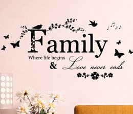 Wholesale Diy Removable Word Wall Stickers - 2016 new DIY Family Where Life Begins Wall Sticker Quote Words Decal Vinyl Decor Mural Letter
