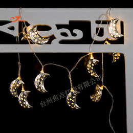 Wholesale Star Sweet Light - Wholesale- Hot Sale Silver Iron Metallic 10 LED String Lights Romantic Sweet Love Star Moon Battery Operated Bedroom Party Curtain Decor