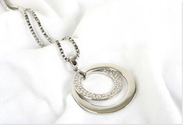 Wholesale Chunky Double Necklace - 2015 hot Women sweater Chain Rhinestone Necklace Chunky Silver Plated Double Circle Pendant Necklace free ship