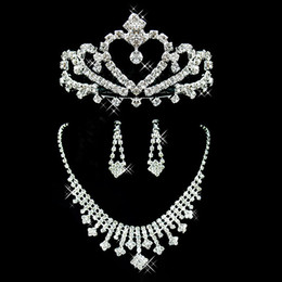 crown stud settings Promo Codes - 2019 Bridal Jewelry Wedding Bridal Rhinestone Accessories Necklace and Earring Ear Stud Style Sets Silver Plated New Without Tags