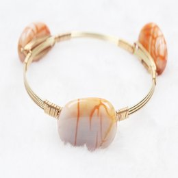 Wholesale 18k Gold Wire Wholesale - New Fashion Three Beads Bangle handmade fine agate Bracelet Simple Stone Style Daily Gold Wire Wrapped Bangle Cute Girls Anniversary Jewelry