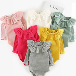 Wholesale Girls Autumn Winter Outfits - Newborn Striped Rompers Baby Jumpsuit Triangle Autumn Spring Long Sleeve 100% Cotton Thick Boy Girls Outfit 3-24M