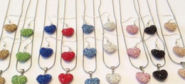 Wholesale Handmade Tibet Beads - high quality wedding gift white handmade Mixed Colors beads clay heart silver plated Shamballal Crystal necklace pendant drop earring