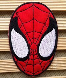 Wholesale Iron Applique Spiderman - 2.36 inch HOT SALE! Spiderman Mask Iron On Patches Made of Cloth Appliques Guaranteed 100% Quality sew on patch GP-005