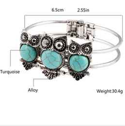 Wholesale Silver Turquoise Jewelry Box - 2015 Bohemia Vintage turquoise jewelry Owl Bracelet & Bangles Antique Silver Crystal Owl Charm Pendant Bracelet for Women