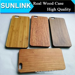 Wholesale Natural Wood Iphone Case - True Wood Minimus Case for iPhone 7 plus 6 6s Plus 5 5s se Handmade Natural Genuine Walnut Bamboo Wooden Cover With Durable Plastic Edges