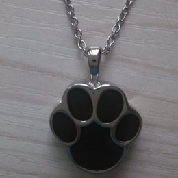Wholesale Dog Steel Chain - Lily Cremation Jewelry Puppy Dog Paw Stainless Steel Urn Pendant Necklace Memorial Ash Keepsake with gift bag