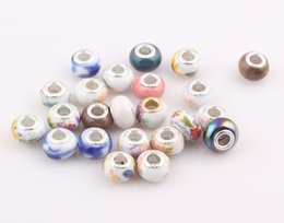 Wholesale Diy Loose Ceramic Beads - 14mm Big Hole Ceramic Porcelain Loose Beads fit European Jewelry Bracelet necklace Charms DIY free shipping ZBE303