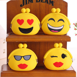 Wholesale Silicone Purse Coin Card Holder - 100pcs 4 Styles QQ Emoji Silicone Coin Bag Mini Coin Purse Cartoon Wallet Purse Women Key Wallet Coin Wallet Children Kids Gifts