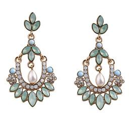 Wholesale Gold Blue Gem Earring - Bohemian Fashion Pearl Blue Gem Leaf Flower Hollow Pedant Dangle Earrings Gold Plated Jewelry