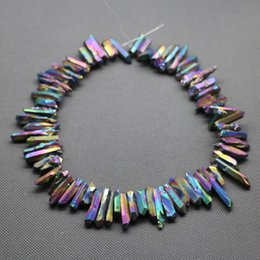 Wholesale cube inches - 76pc 1Strand Titanium Rainbow Crystal Quartz Rock Pendant, Natural Freeform Spikes Points Drilled Briolettes, 15.5 Inch Women Necklace