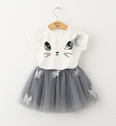 Wholesale Girls 18 Month Shirt - 2018 Kids Girl Dress Summer Casual Style Cartoon Kitten Printed T-Shirts+Net Veil Dress 2Pcs for Girls Clothes