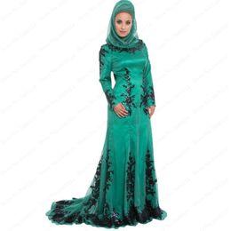 Wholesale Dark Burgundy Scarf - Vintage Muslim Evening Dresses 2016 Elegant Winter Women Long Sleeve Chiffon With Black Appliques Scarf Mermaid Formal Gowns With Women's